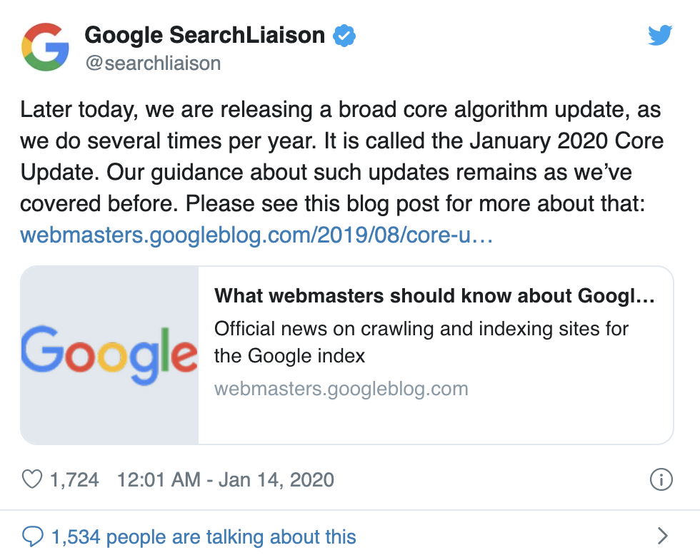 Google 算法一月份更新
