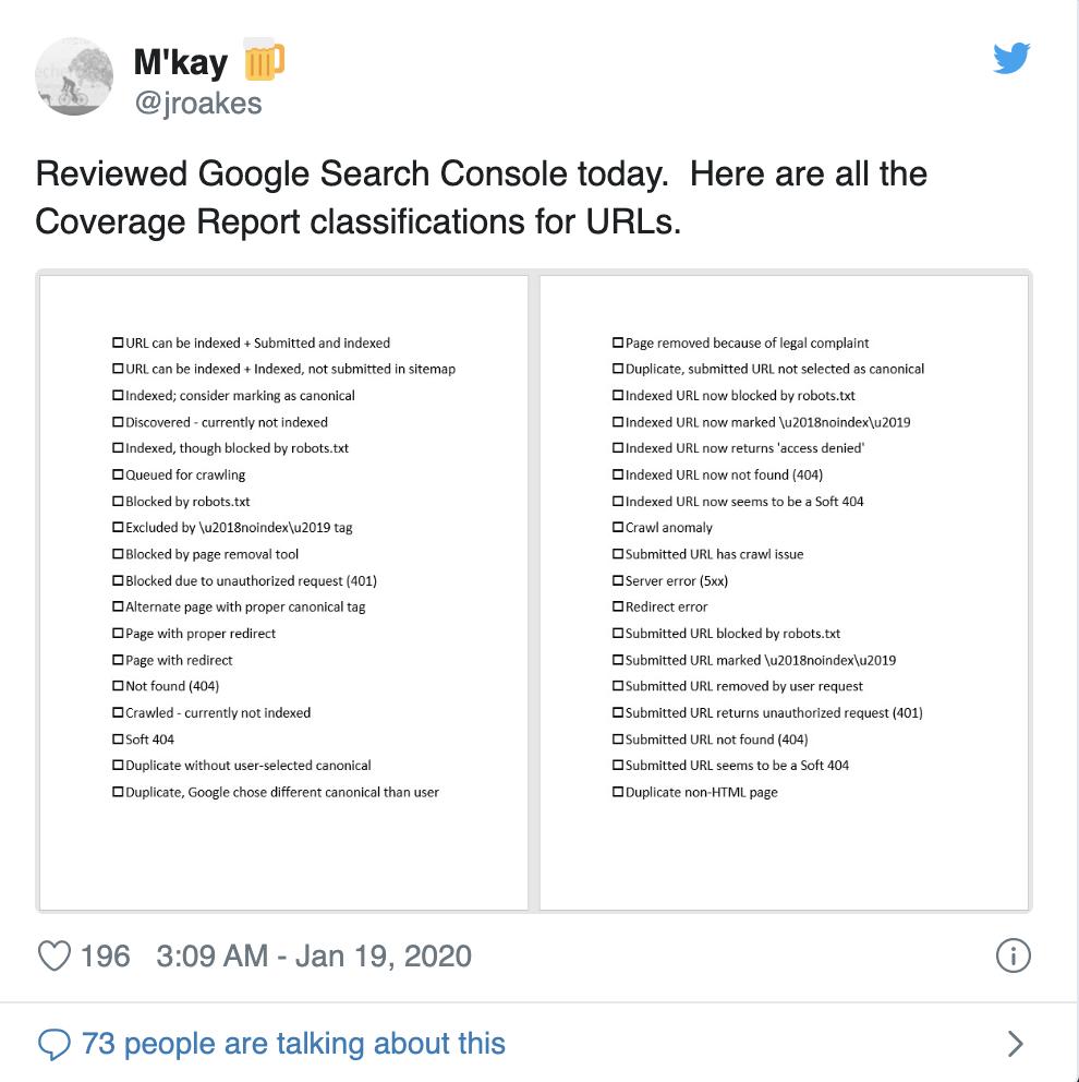 GSC 中索引覆盖报告的后台分类